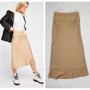 Free People Normani Bias Skirt in Praline NWT